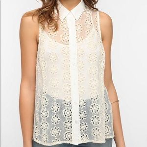 Pins and Needles-White Sheer Button Down Top